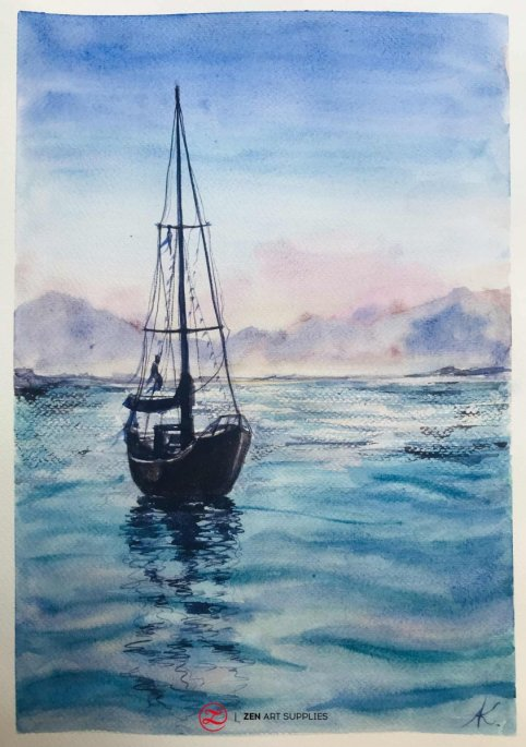 How to paint water in watercolor by Ardak Kassenova