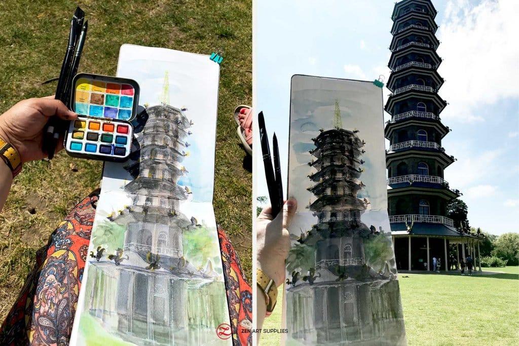 Great Pagoda Kew Gardens watercolor by Ardak Kassenova