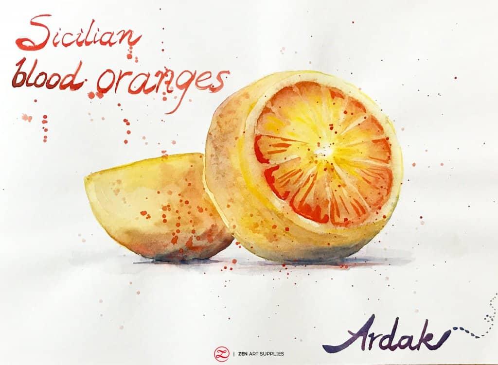 Sicilian blood oranges watercolor painting