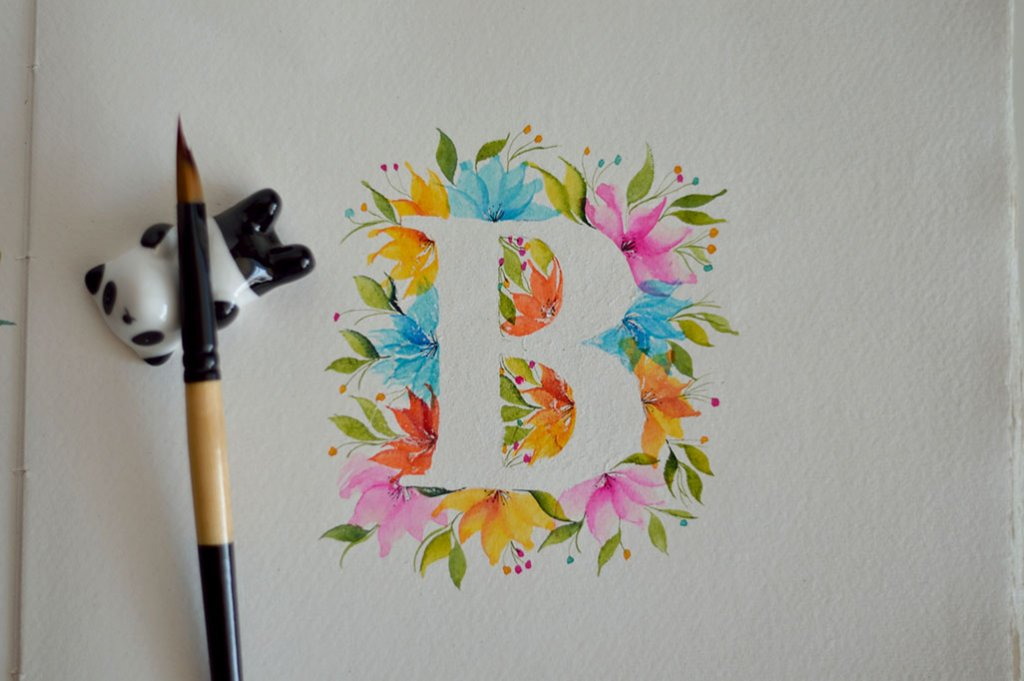 B Lettering Watercolor Painting by Swapna Khade