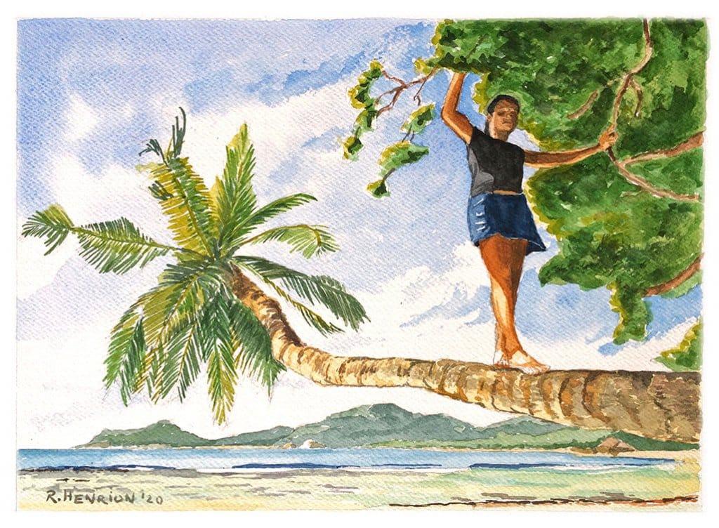Balancing_Coco_versé Watercolor by Roland Henrion