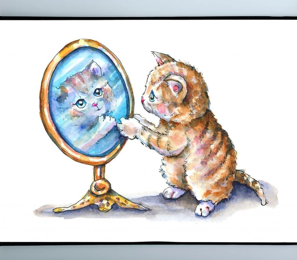 Cat Looking In Mirror Tabby Watercolor Illustration Painting Sketchbook Detail