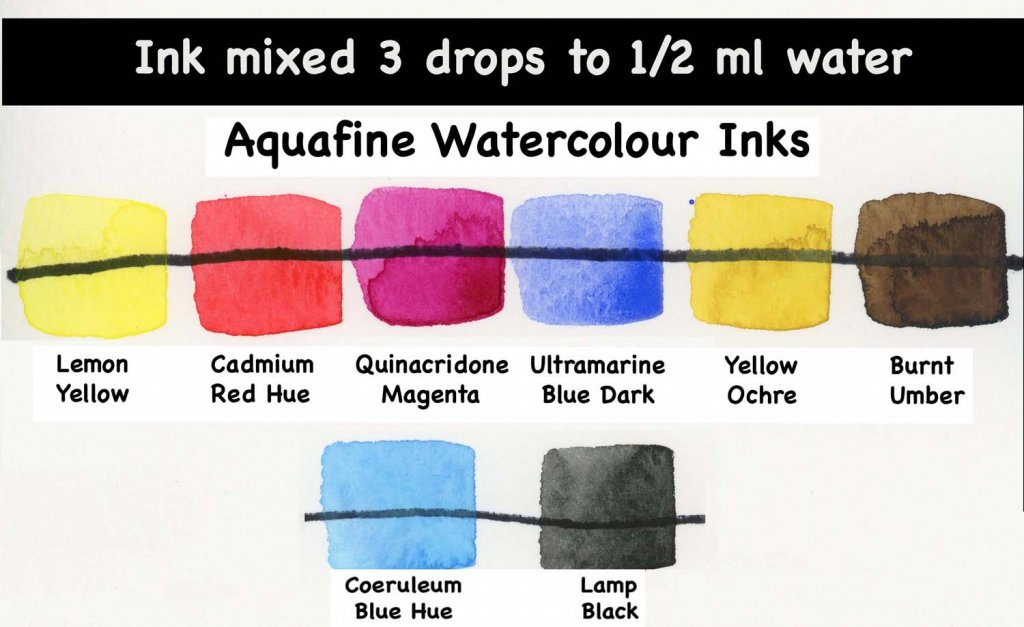 Aquafine Watercolour Ink mixed with 3 drops to 1/2 ml water swatch examples