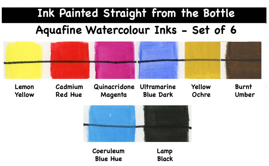 Aquafine Watercolour Ink Painted Straight from the bottle swatch examples