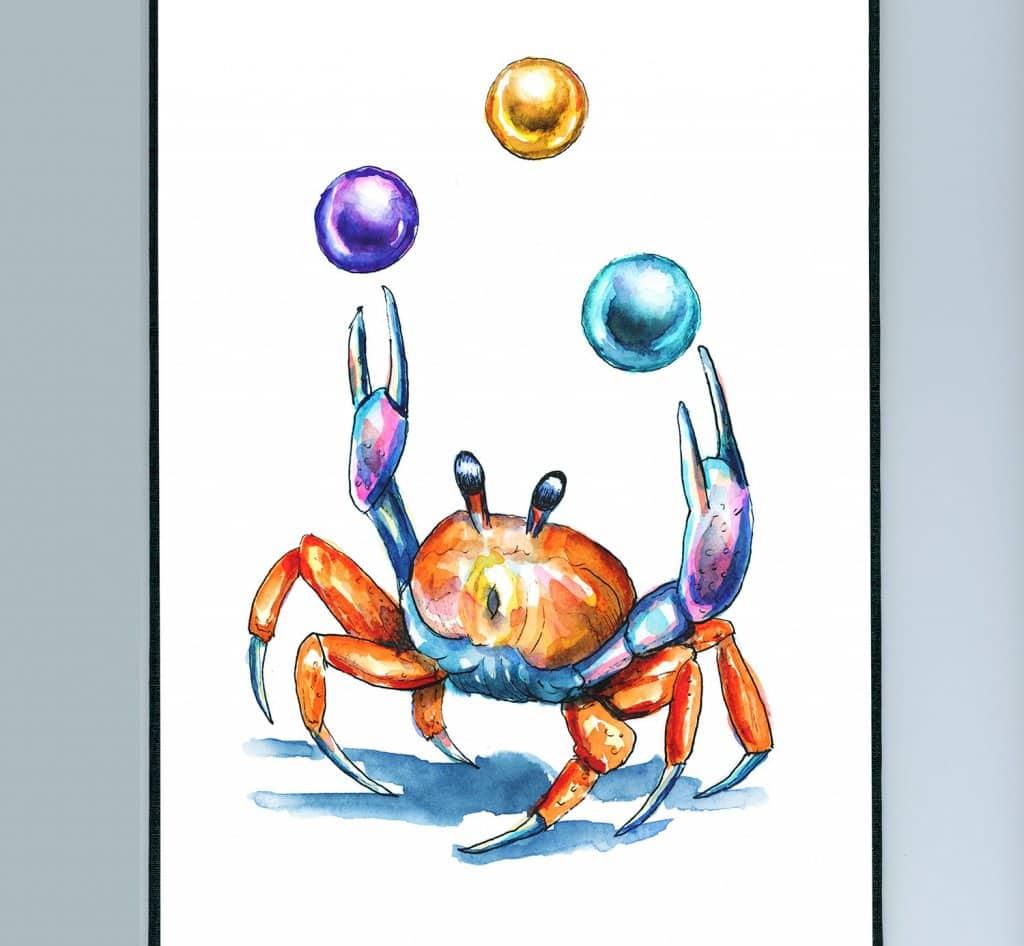 Crab Juggling Pearls Watercolor Illustration Painting Sketchbook Detail