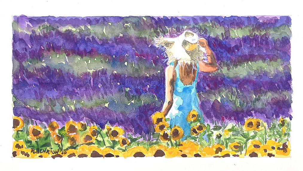 Girl_lavander_sunflowers watercolor painting by Roland Henrion