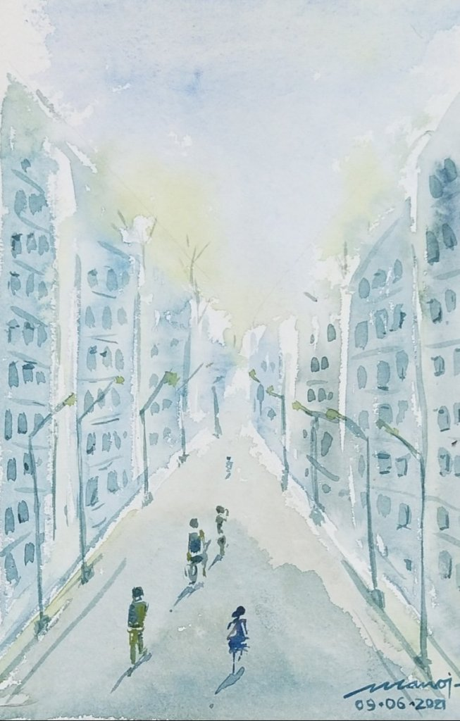 Dt:09.06.2021 Sub: CITYSCAPE Watercolor painting on handmade paper IMG_20210615_192342