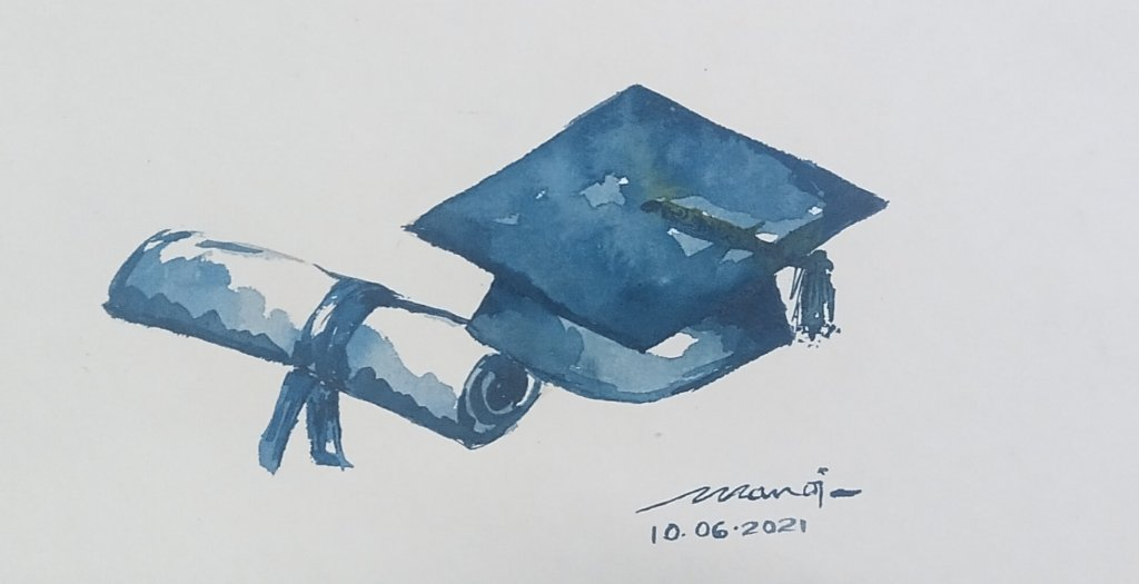 Dt:10.06.2021 Sub: GRADUATION Watercolor painting on handmade paper IMG_20210615_213352