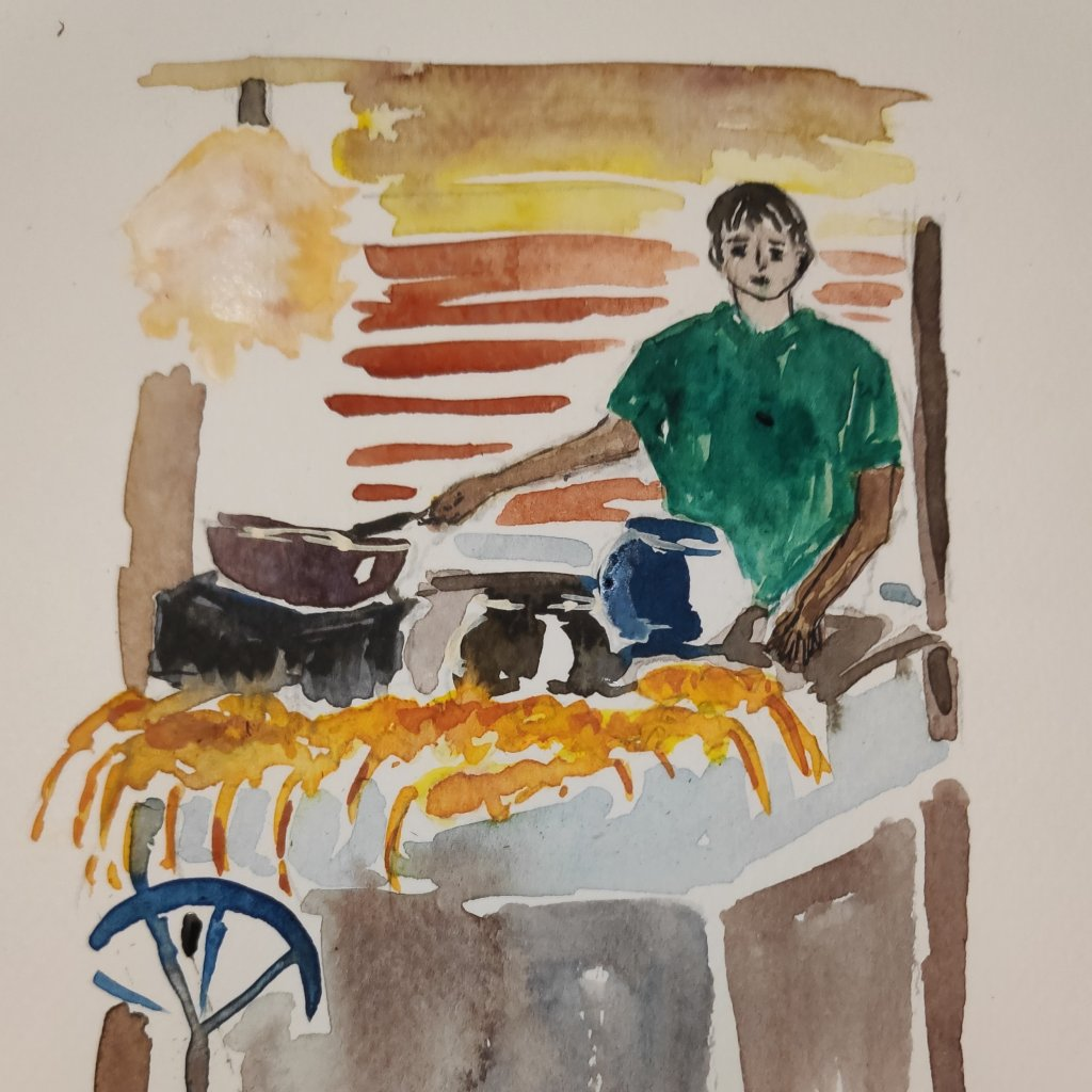 #day16 #barbeque #doodlewashjune2021 #worldwatercolorgroup A street vendor selling barbequed lobster