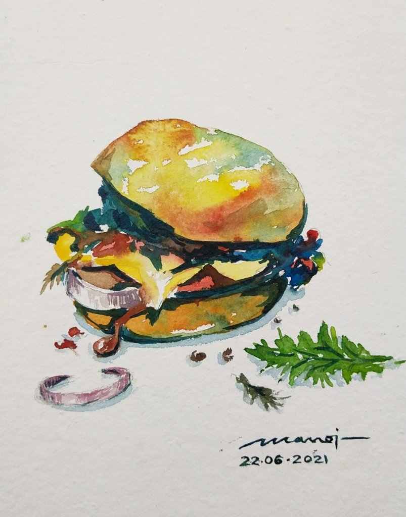 Dt: 22.06.2021 Sub: HAMBURGER & FRIES Watercolor painting on handmade paper IMG_20210620_234015