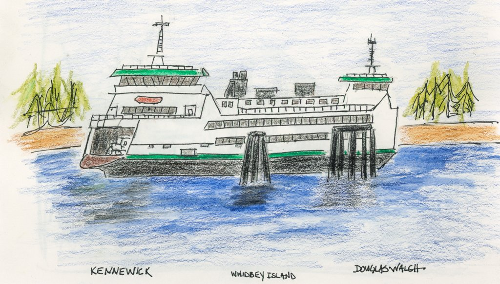 Not my best work, but ferries are hard to sketch – all those windows and straight lines. Argh.