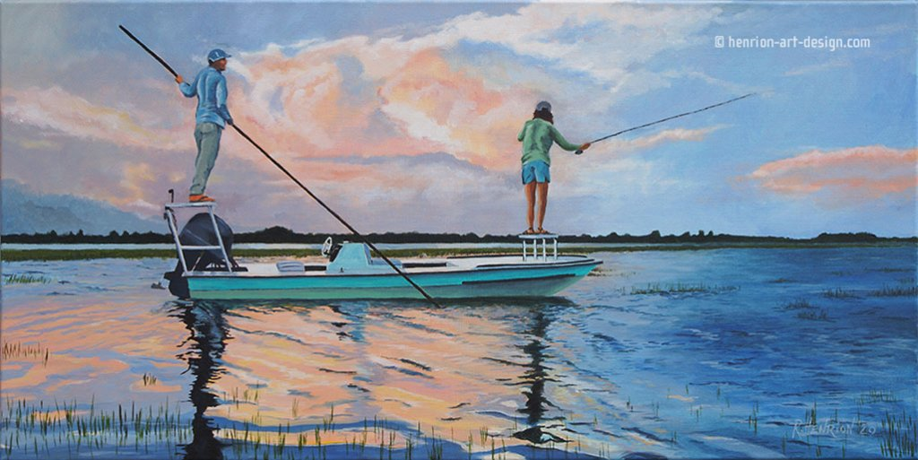 Magic Light Marshes Fishing Watercolor Painting by Roland Henrion