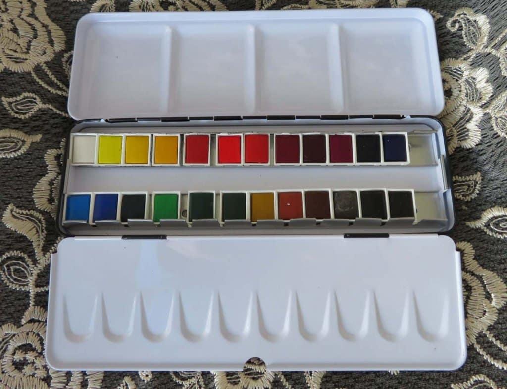 24 color Aquafine Watercolour Pan Set In Metal Tin