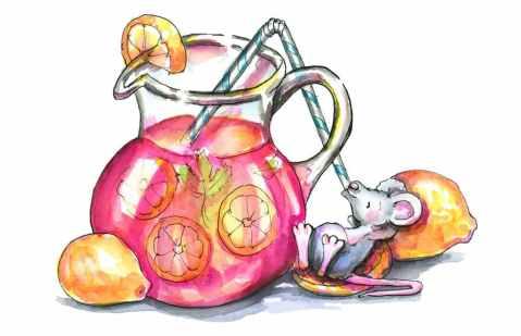 Pink Lemonade Lemons Mouse Drinking Watercolor Illustration