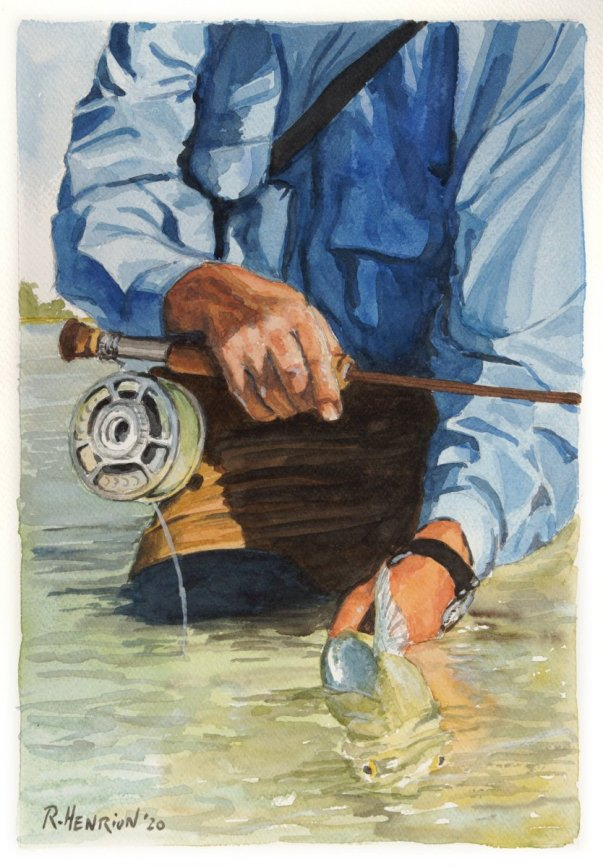 Catch and Release Fishing Watercolor Painting by Roland Henrion