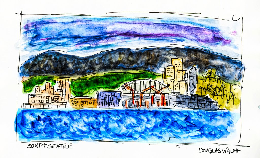 South Seattle, plein air from our lanai after two Corona Lights and a couple shots of Patron. It was