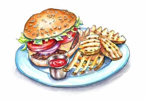 Waffle Fries And Cheeseburger Watercolor Painting Illustration