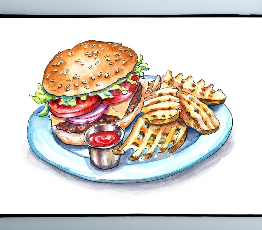 Waffle Fries And Cheeseburger Watercolor Painting Illustration Sketchbook Detail