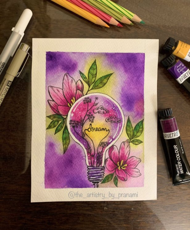 Whimsical Watercolor Painting Light Bulb Flowers by Pranami Poddar