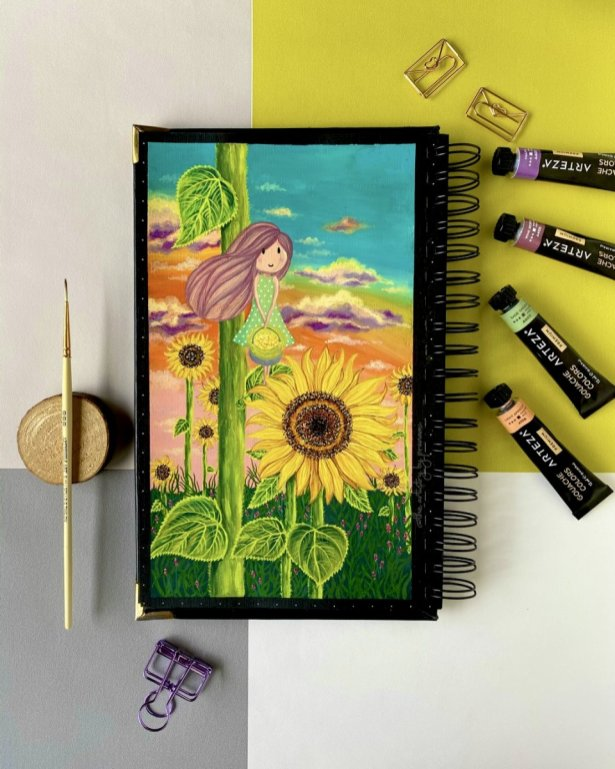 Whimsical Watercolor Painting by Pranami Poddar sunflower girl