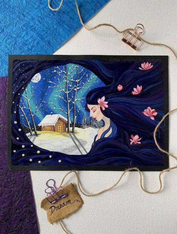 Winter scene watercolour painting by Pranami Poddar