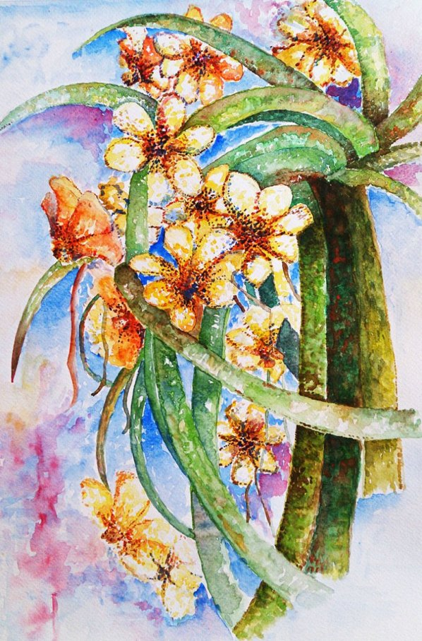 Yellow flowers Watercolor Painting by Seyedeh Ayeh Mirrezaei