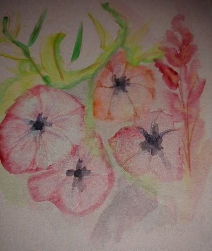 I made these flowers from random watercolour spots. I added some green to suggest the foliage. aquar