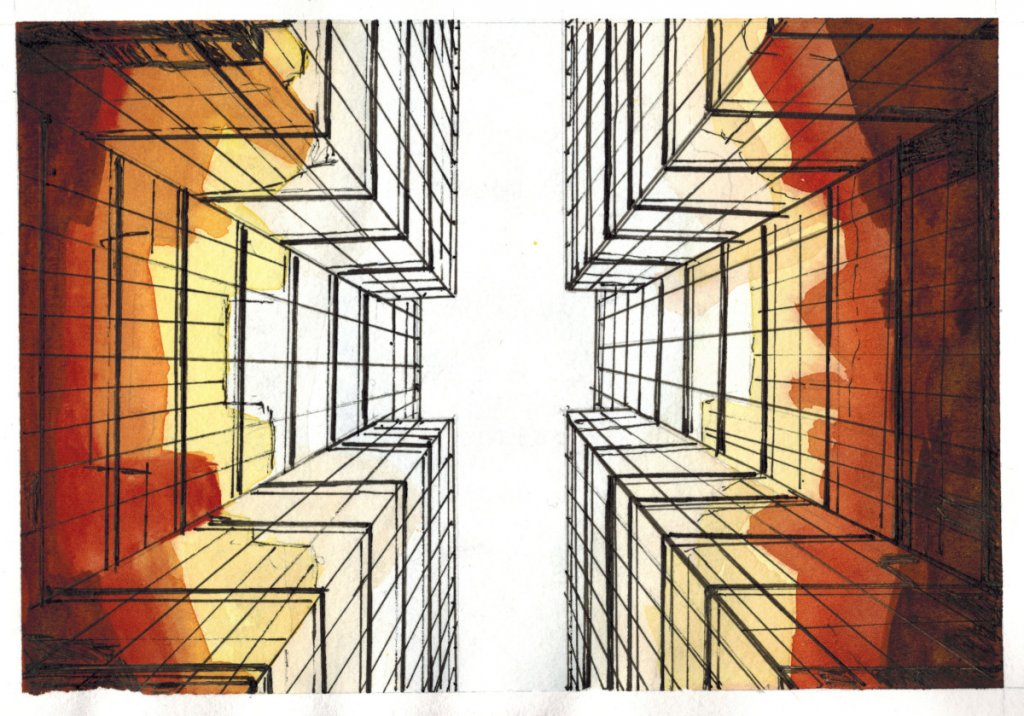 Cityscape: Ink and watercolor From a Pixabay reference. Very happy with this one. Unfortunately the