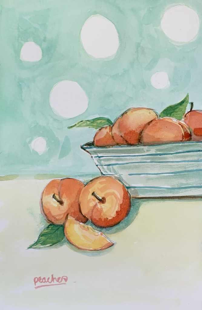 Peaches in a bowl. peaches