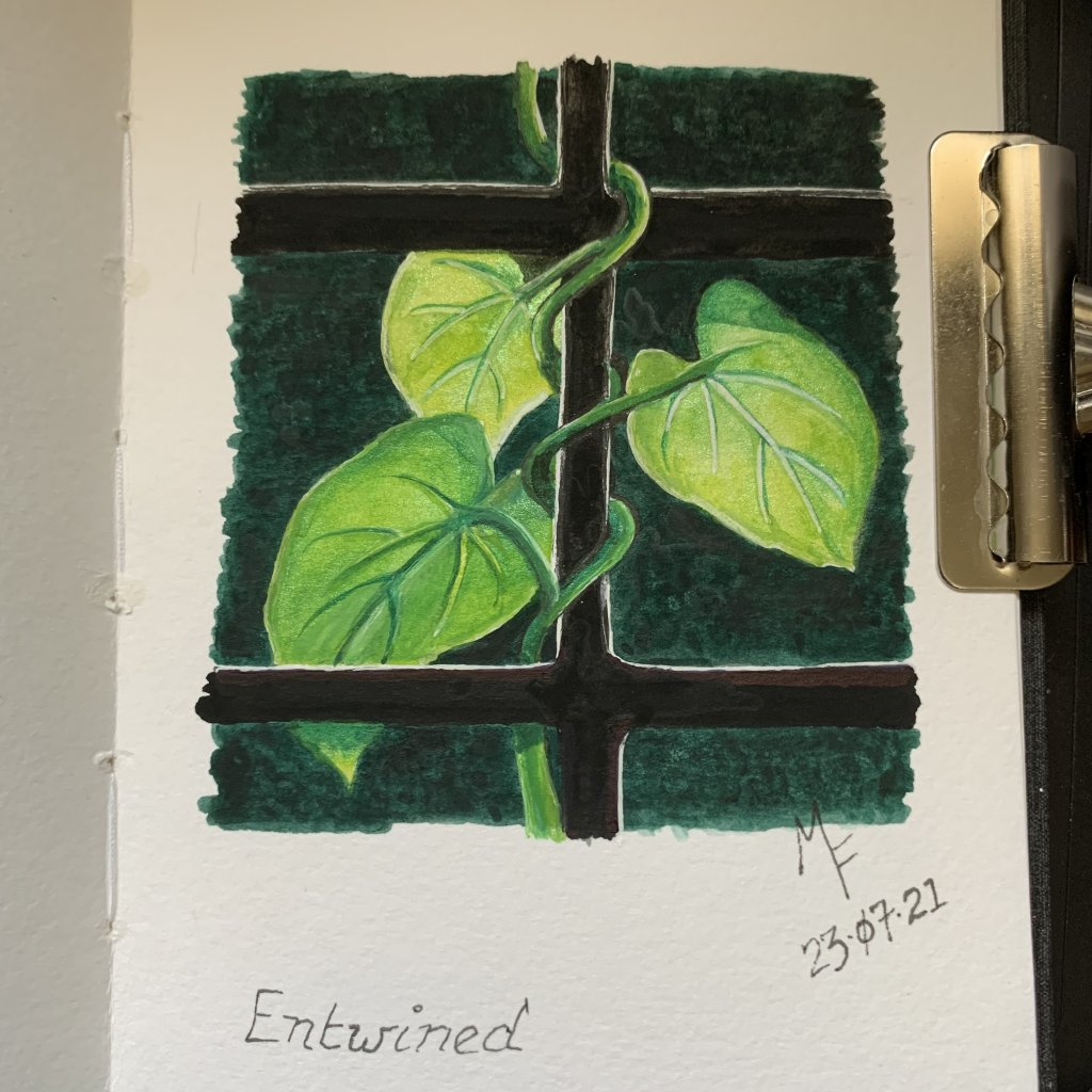 Here are my Days 18 to 22 paintings: Entwined, Tickle, Savory, Tactile and Jittery! After taking a b