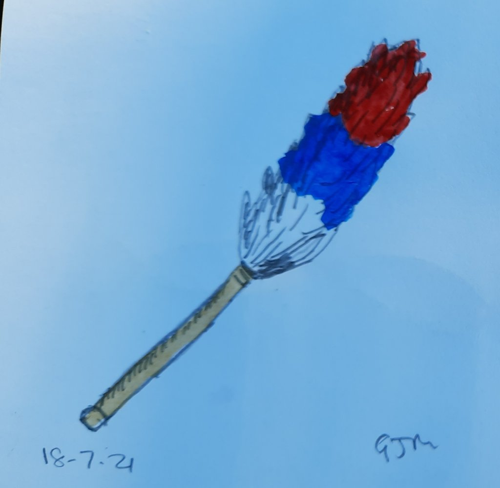 A feather duster, also known as a tickling stick. #doodlewashjuly2021 Day 19 Tickle. #worldwatercolo