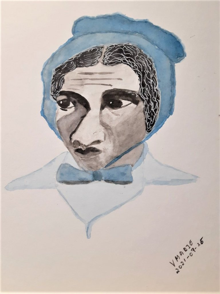 """2021-07-26 Focused (She had her"""" eye on the prize""""). Based on photo of Sojourner Truth."""
