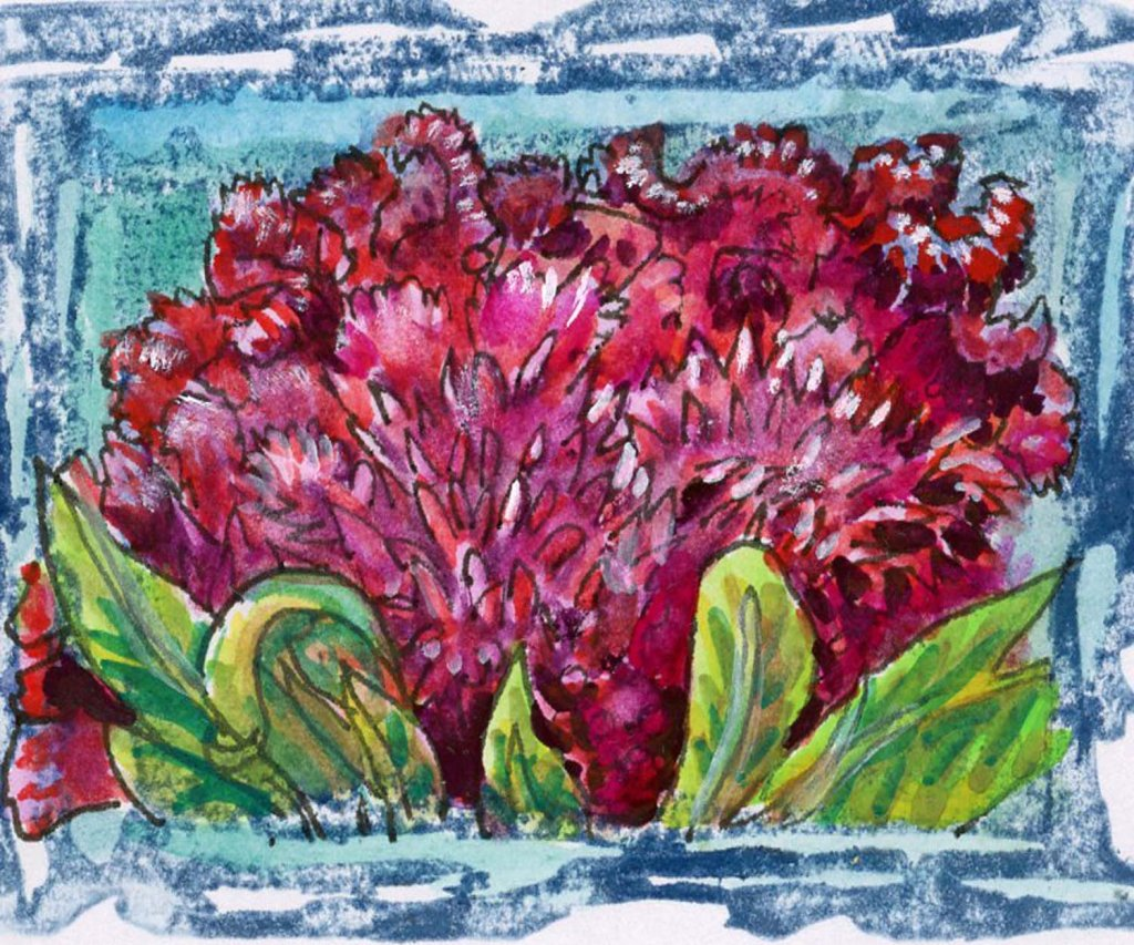 #WorldWatercolorMonth2021 Prompt:Jittery. Cockscomb is the flower you would send if you want to wish