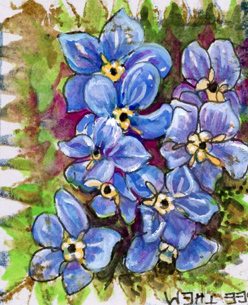 #WorldWatercolorMonth2021 prompt: Lost. A gift of Forget-Me-Nots says the memory of you will never b