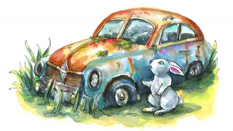Abandoned Car Rusted Rabbit Bunny Watercolor Illustration Painting