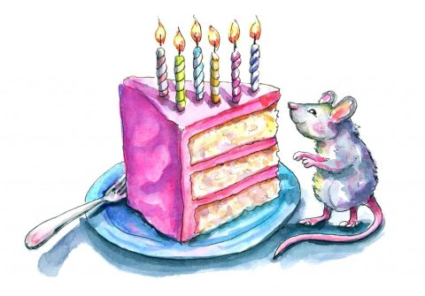 Birthday Cake 6 Candles Mouse Watercolor Illustration Painting