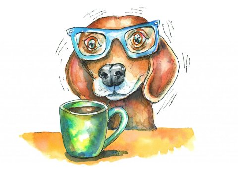 Coffee Jitters Jittery Dog With Mug Watercolor Illustration Painting