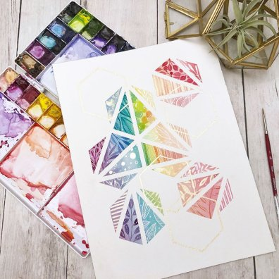 Colorful Hexagons Watercolor Painting
