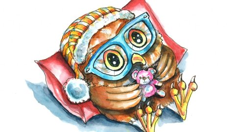 Cute Owl In Bed With Teddy Bear Watercolor Illustration Painting