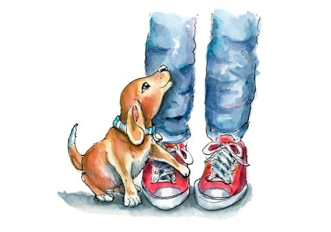 Faithful Dog Puppy Legs Jeans Red Sneakers Watercolor Illustration Painting