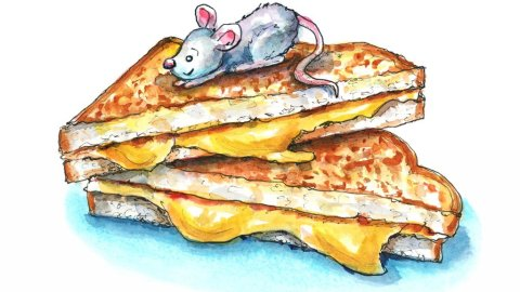 Grilled Cheese Sandwich And Mouse Watercolor Illustration Painting