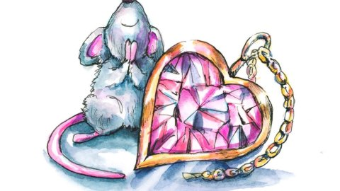 Heart Shaped Pink Diamond Jewelry Mouse Love Watercolor Illustration Painting