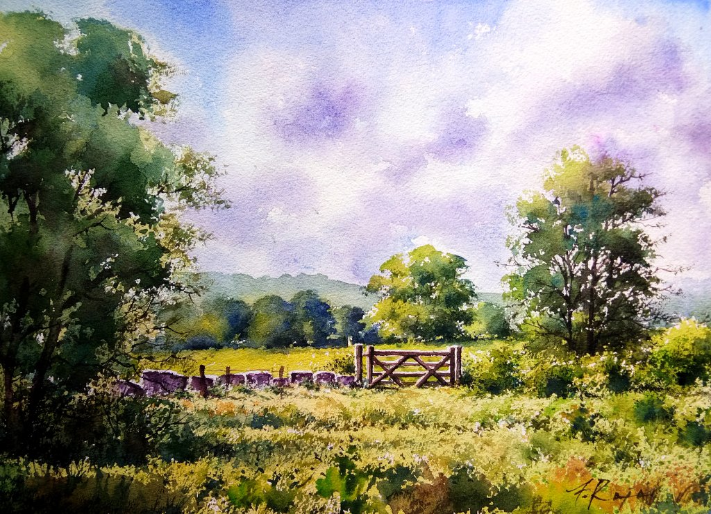 ' Cotswolds farmside ' – watercolor inspired by England's beautiful Cotswold