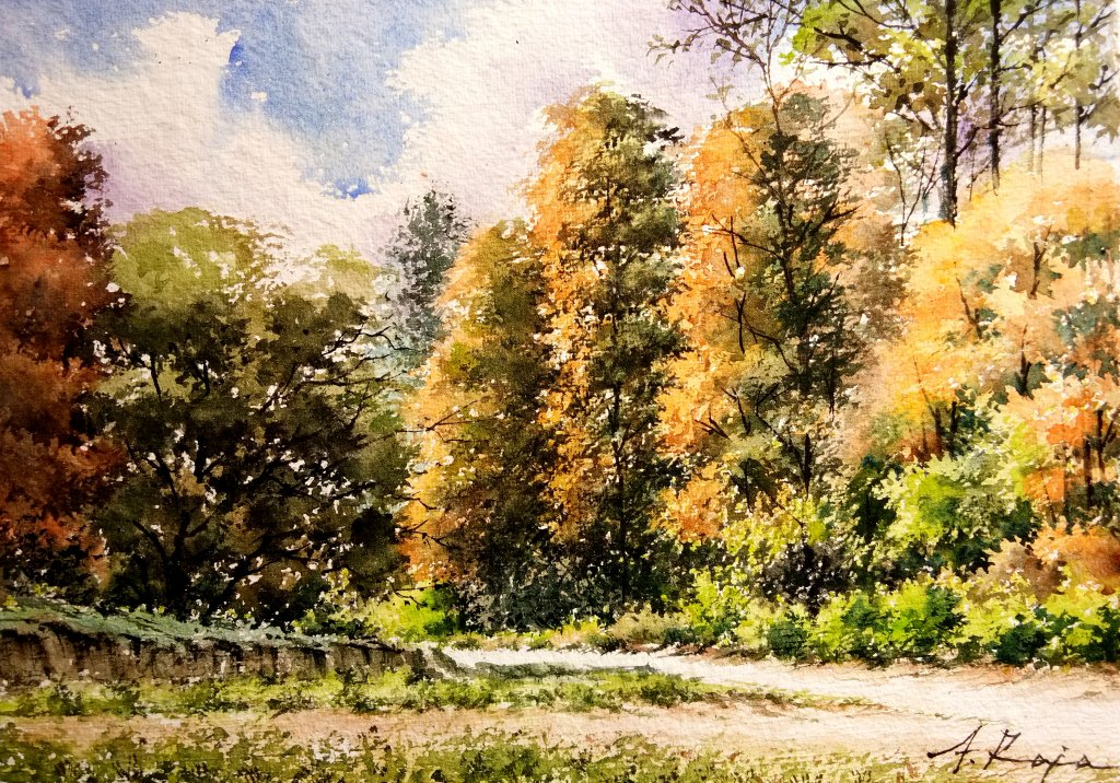 ' Autumn trees in Cotswolds ' – Watercolor IMG_20210704_152705