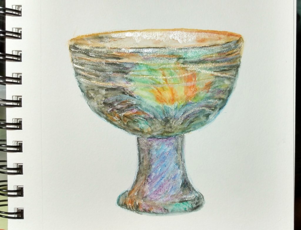 I'm not making this up! It's a Roman glass chalice or 'calix', 2nd-3rd centu