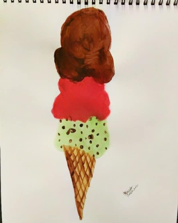 My watercolor art: Icecream Cone. 🍦🎨 I followed a tutorial from: https://www.fun365.