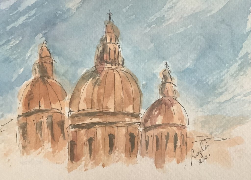 #doodlewashjuly2021 day 14 faithful #worldwatercolormonth; It is said that Malta has so many churche