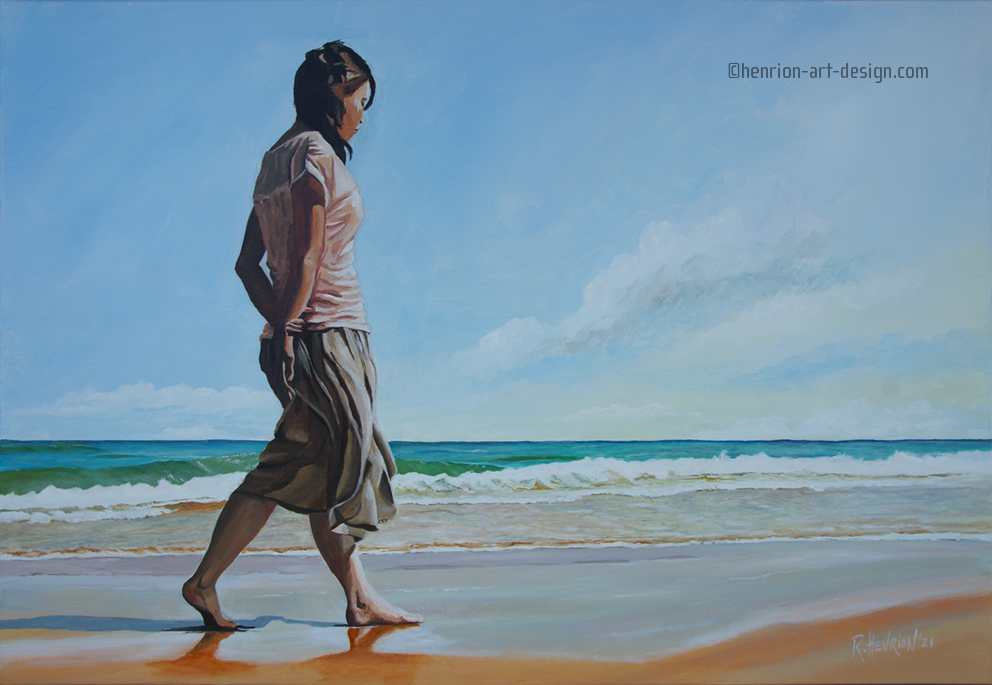 """Not watercolor… Acrylic on canvas. """"Lost in thought"""". Size 100 x 70 cm. Lost_in_though"""