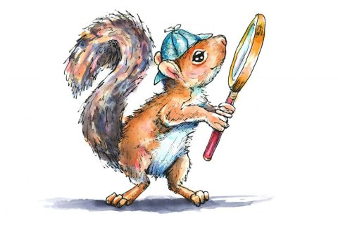 Sherlock Holmes Squirrel Magnifying Glass Watercolor Illustration Painting