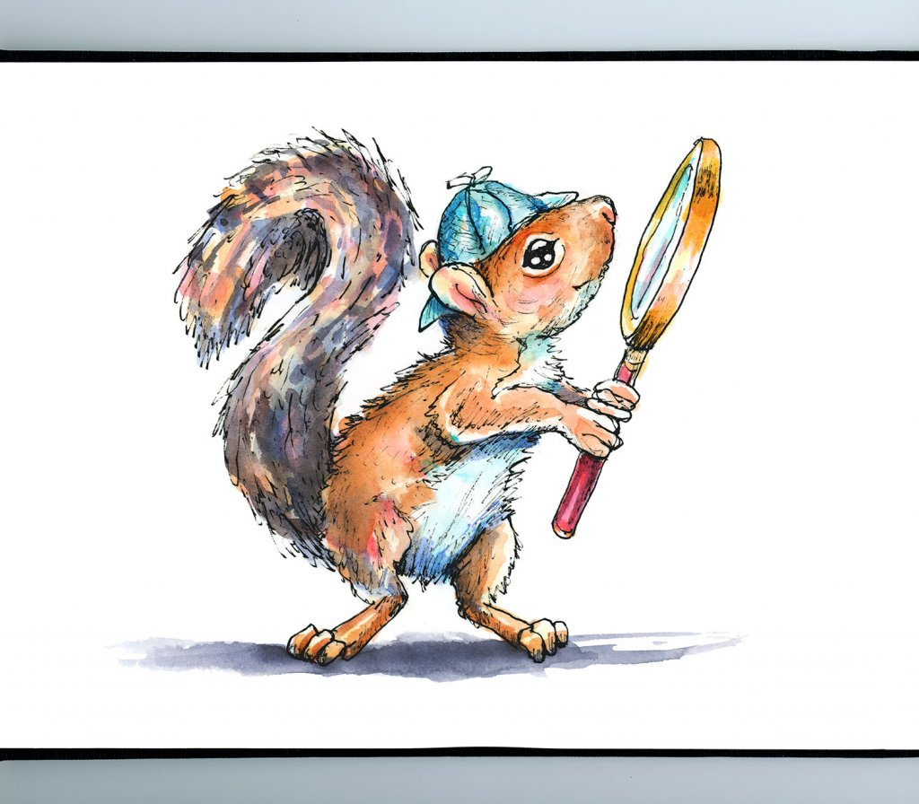 Sherlock Holmes Squirrel Magnifying Glass Watercolor Illustration Painting Sketchbook Detail
